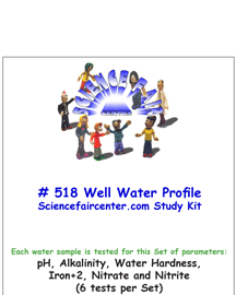 Download # 518 Well Water Profile PDF with pH, Alkalinity, Water Hardness, Iron+2, Nitrate and Nitrite (6 tests on each water sample).