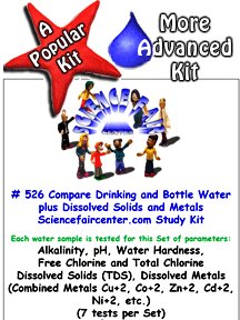 Download # 526 Compare Drinking and Bottle Water plus Dissolved Solids and Metals Testing PDF with  Alkalinity, pH, Water Hardness, Free Chlorine and Total Chlorine, Total Dissolved Solids (TDS) and Dissolved Metals (Combined Metals Cu+2, Co+2, Zn+2, Cd+2, Ni+2, etc.) (7 tests on each water sample).
