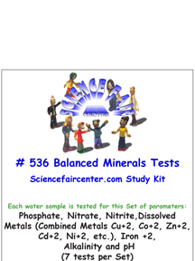 Download # 536 Balanced Minerals Concentration in Water PDF with Phosphate, Nitrate, Nitrite, Dissolved Metals (Combined Metals Cu+2, Co+2, Zn+2, Cd+2, Ni+2), Iron +2, Alkalinity and pH (7 tests on each water sample).