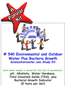 Download # 540 Environmental and Outdoor Water Source PDF with  pH, Alkalinity, Water Hardness, Total Dissolved Solids (TDS), plus Bacterial Growth Indicator (5 tests on each water sample).
