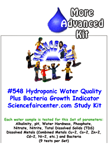 Download # 548 Hydroponics Water Quality plus Trace Metals and Bacteria PDF with  Alkalinity, pH, Water Hardness, Phosphate, Nitrate, Nitrite, Total Dissolved Solids (TDS) Dissolved Metals (Combined Metals Cu+2, Co+2, Zn+2, Cd+2, Ni+2, etc.) and Bacteria (9 tests on each water sample)