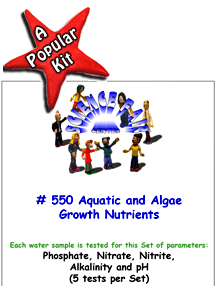 Download # 550 Aquatic and Algae Growth Nutrients in Water PDF with Phosphate, Nitrate, Nitrite, Alkalinity and pH (5 tests on each water sample).