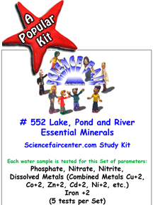 Download # 552 Lake, Pond and River Essential Minerals in Water PDF with Phosphate, Nitrate, Nitrite, Dissolved Metals (Combined Metals Cu+2, Co+2, Zn+2, Cd+2, Ni+2, etc.) and Iron +2 +3 (5 tests on each water sample).