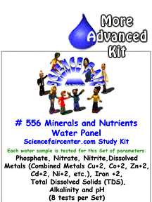 Download # 556 Minerals and Nutrients Water Panel PDF with Phosphate, Nitrate, Nitrite, Dissolved Metals (Combined Metals Cu+2, Co+2, Zn+2, Cd+2, Ni+2, etc.), Iron +2, Total Dissolved Solids (TDS), Alkalinity and pH (8 tests on each water sample).