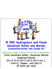 558 Hydroponics and Ponds Dissolved Solids and Metals - Natural mineral and nutrient panel for environmental water studies.